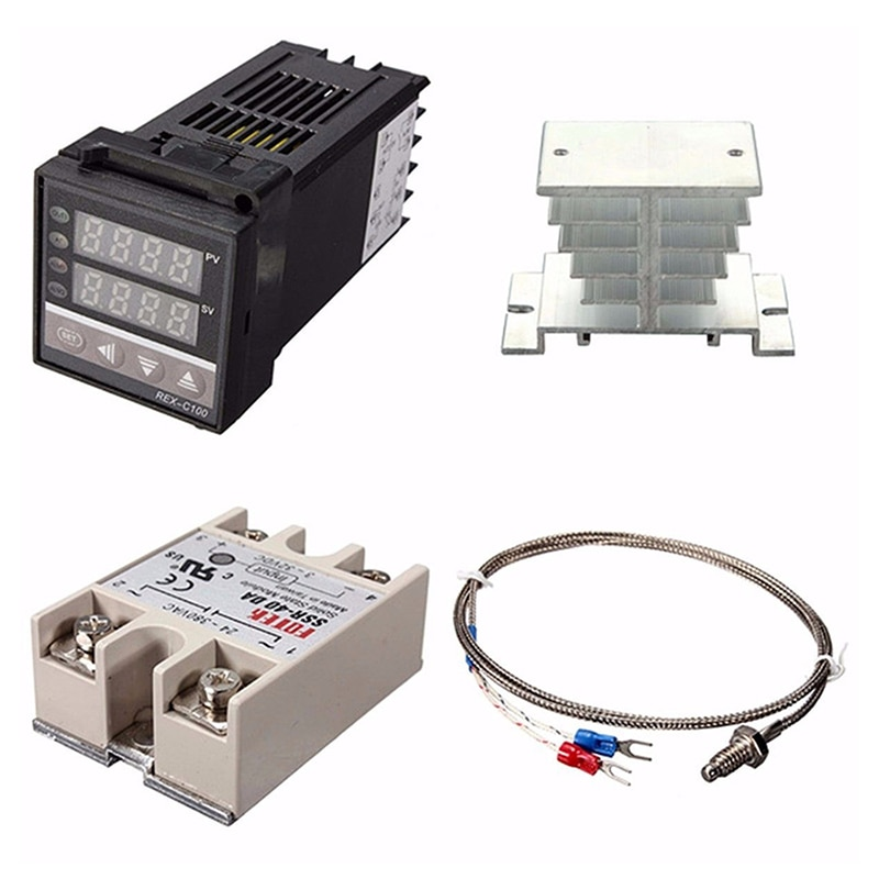 Digital 220V PID REX-C100 Temperature Instrument Controller + max.40A SSR + K Thermocouple, PID Controller Set + Heat Sink