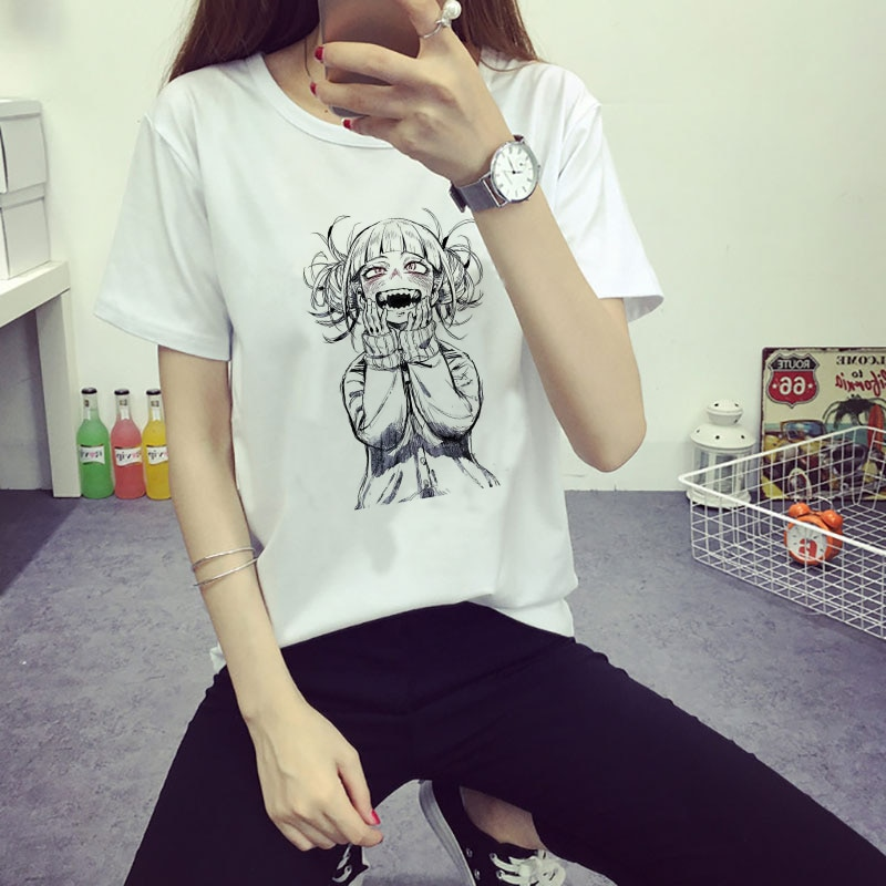 Japanses Style Hot Comic Anime My Hero Academia Himiko Toga Yandere Print White Tshirt Ahegao Girl Harajuku Kawaii Women Clothes