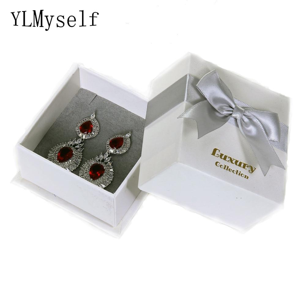 (Solo caja a la venta) caja de regalo de papel blanco de alta calidad para anillos/pendientes/colgante/Conjuntos de 2 uds. Embalaje de joyería 7,8*7,8*4,6 CM