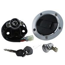 Motorcycle Metal Fuel Gas Tank Cap Cover Lock + Ignition Switch Lock Set For Suzuki  GSXR 600 750 2004 2005