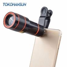 TOKOHANSUN Clip universel 8X 12X Zoom téléphone portable télescope lentille téléobjectif caméra objectif pour iPhone Huawei Samsung Xiao Honor