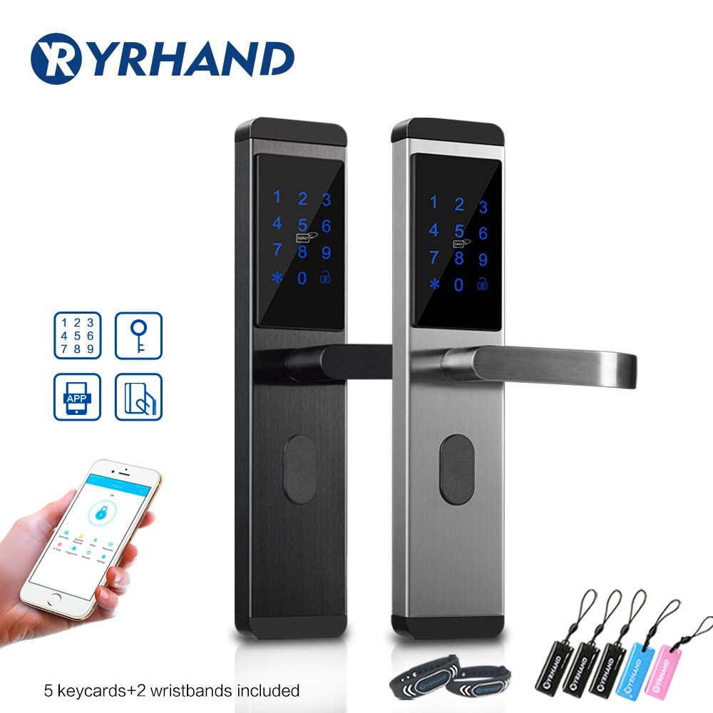 Review Stainless steel Bluetooth WiFi App Smart Electronic Door Lock Keypad Mortise Door Lock