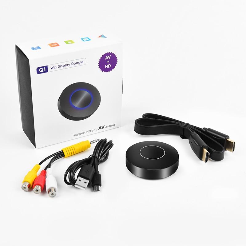 Q1 1080P WIFI pantalla HDMI Dongle receptor de TV para Airplay Miracast adaptador AV