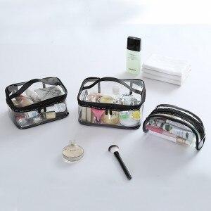Bolsa de cosméticos transparente de PVC a prueba de agua, bolsa organizadora beutican, cubos de embalaje, caja, bolsa interior para mujeres grandes, medianos y pequeños