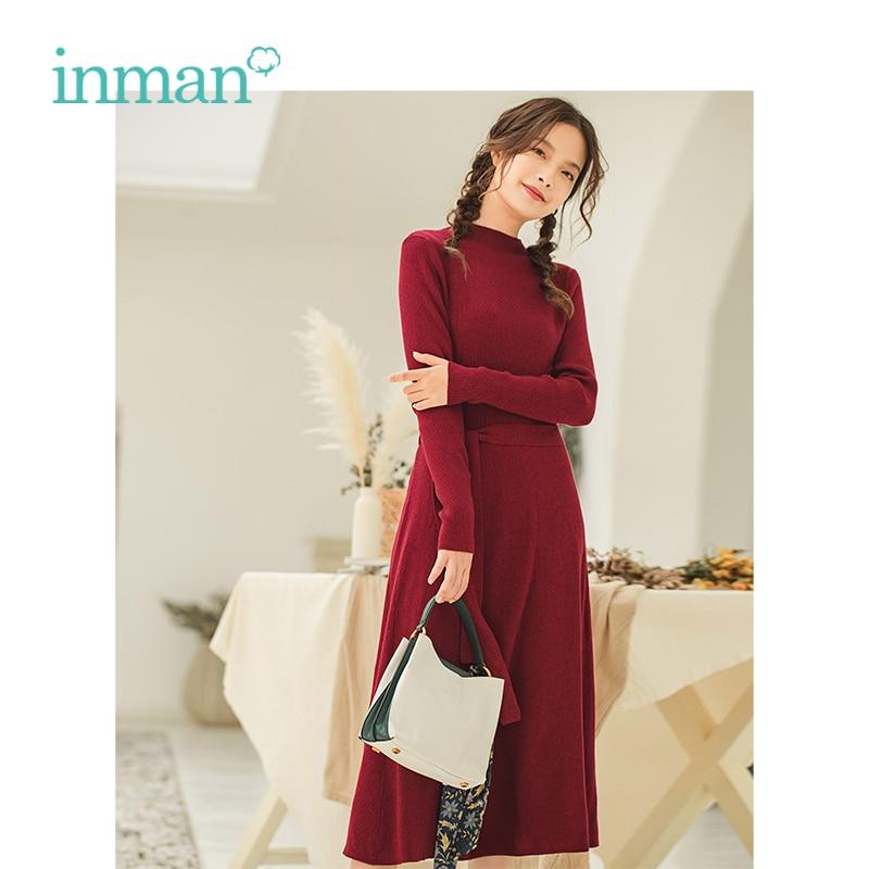 Inman outono inverno feminino elegante ajuste cintura fina manga longa mulher tricô vestido