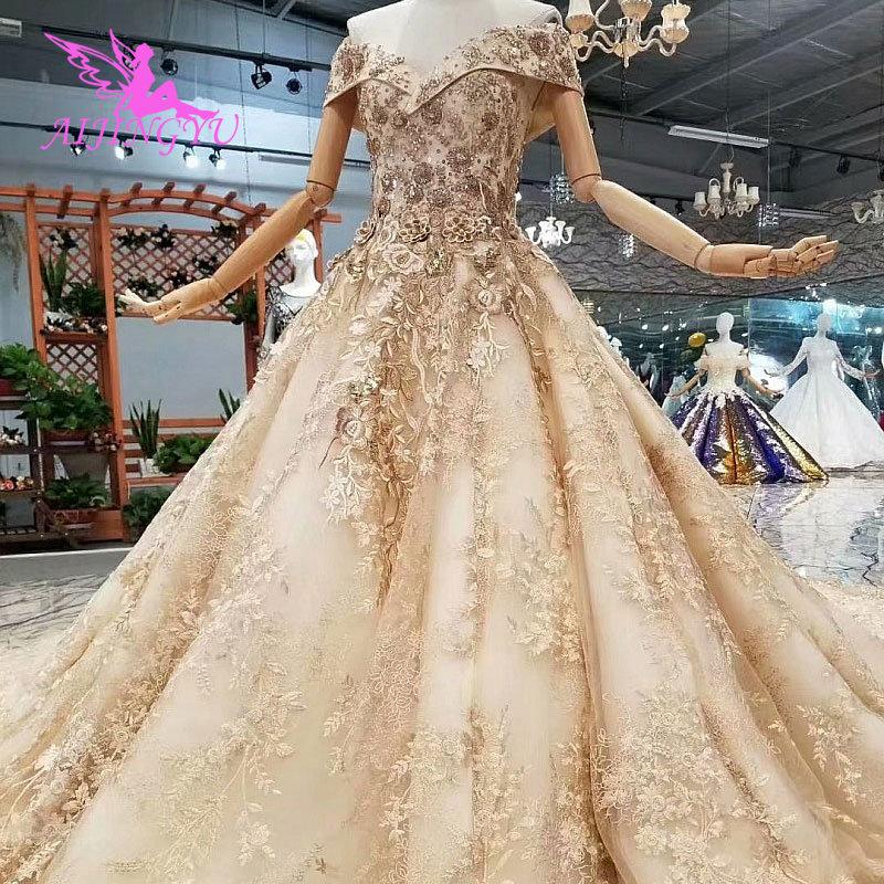 AIJINGYU-فستان زفاف دانتيل للنساء ، فستان فاخر على الطراز المغربي مع طباعة الأزهار ، متجر على الإنترنت ، 2021 ، 2020