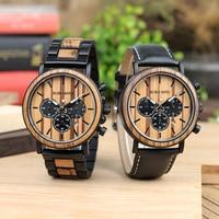 BOBO BIRD L-P09 Stainless Steel Watches Montre Homme Vintage Wooden Watch Stop Watch Function Men Business Wristwatch OEM