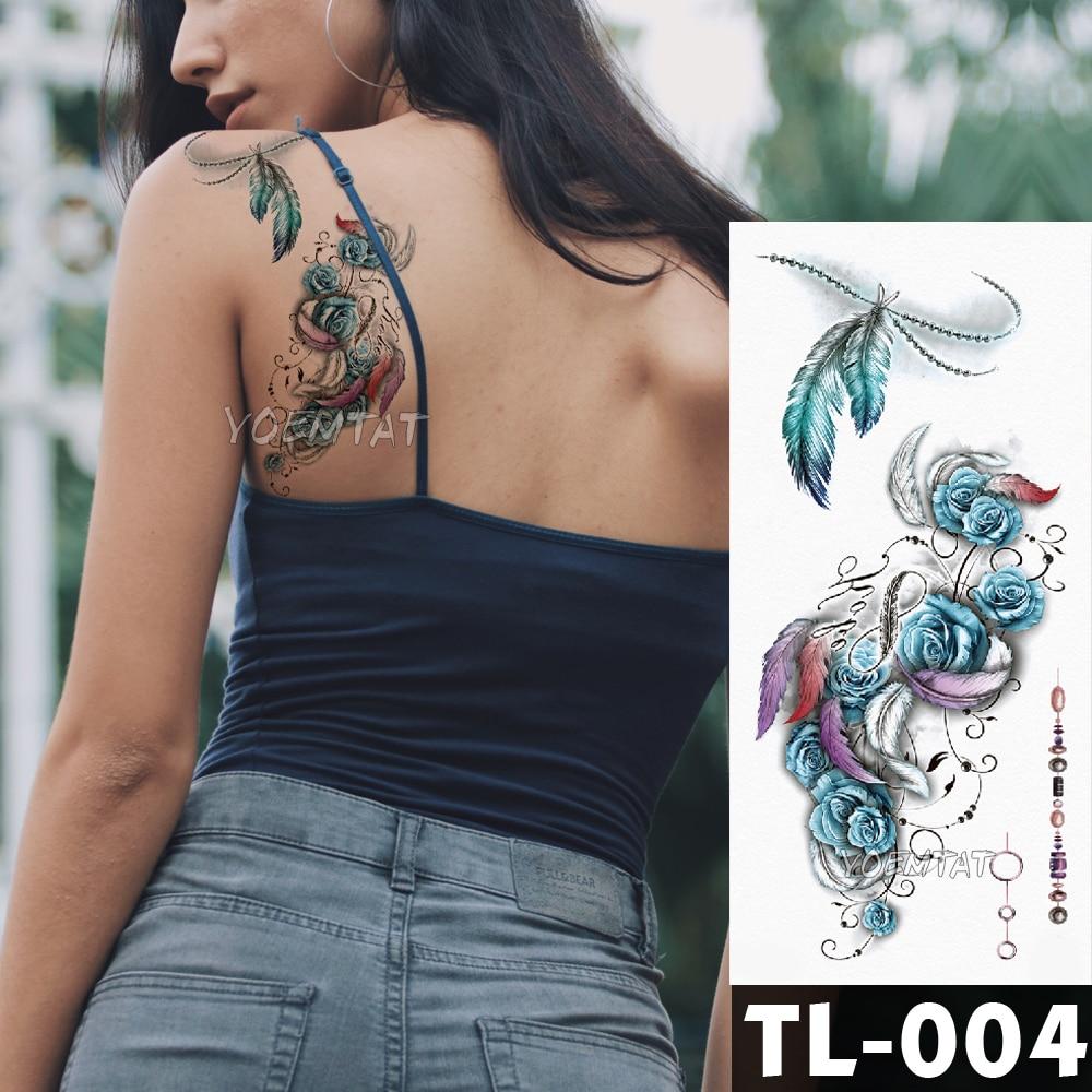 Azul Rosa flor tatuaje pegatinas pluma acuarela zorro niñas pecho cuerpo arte resistente al agua tatuajes temporales mujeres Flash tatuaje