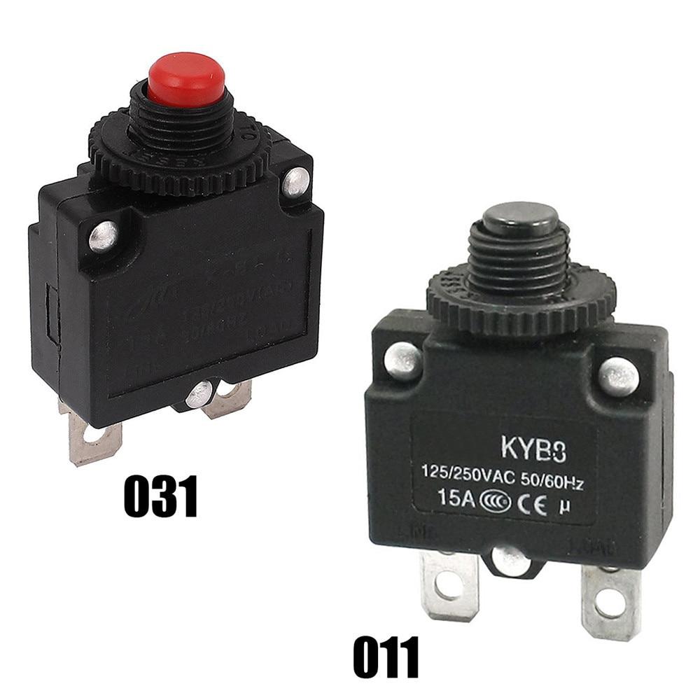 Protector de sobrecarga para interruptor de botón de Reinicio, 1 unidad, CA 125V/250V 15A