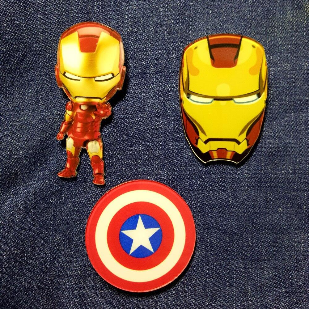 Broche acrílico iron Man / Batman/Superman/Capitán América insignia para ropa iconos en la mochila broches pines insignias