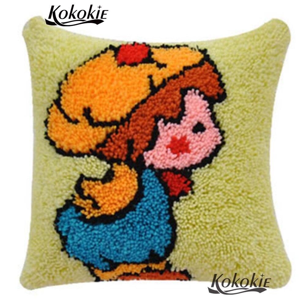 Funda de almohada de alfombra con gancho de pestillo, alfombrillas de coser con bordado
