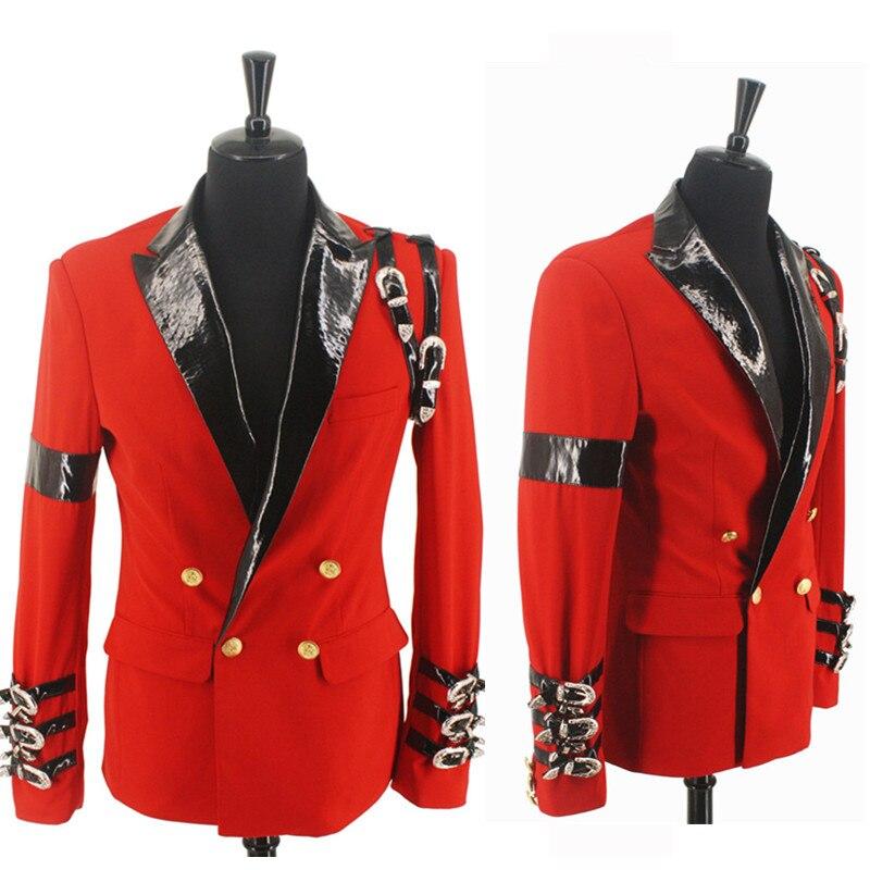 Модный красный костюм MJ Майкл Джексон BAD casual Award Ceremony пиджак с пряжкой в стиле панк крутая куртка XXS-4XL