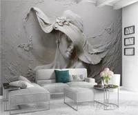 beibehang custom wallpaper 3d stereo murals embossed gray beauty oil painting modern abstract art mural living room 3d wallpaper