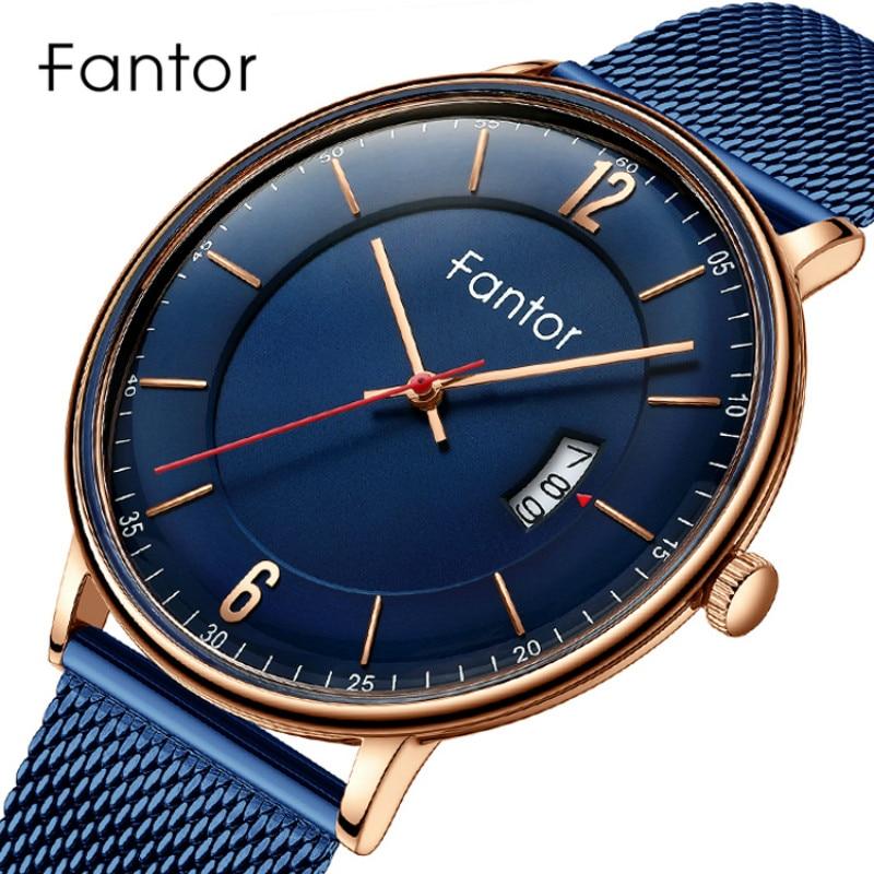 Fantor Brand Men Luxury Fashion Business Waterproof Quartz Date Man Casual Wrist Watch Blue