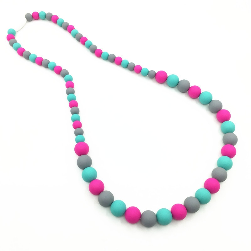 free shipping Silicone necklace white-baby teething bead necklace-Silicone Baby rainbow TeetherToy -silicone teeth for baby mom