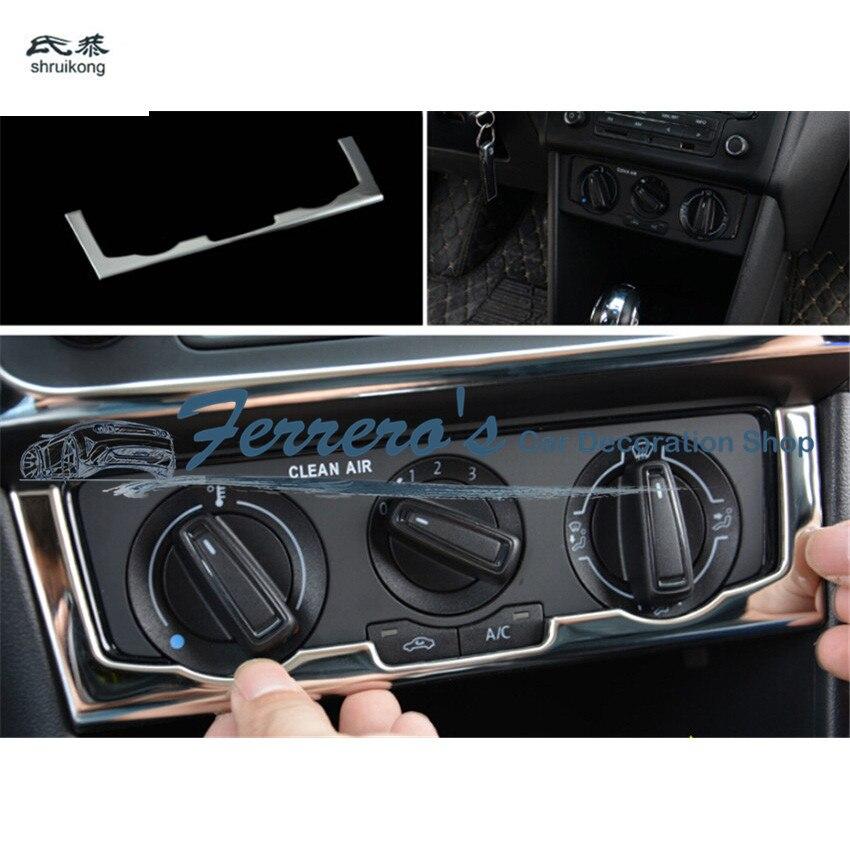 1pc adesivos de carro de aço inoxidável manual interruptor de ar condicionado capa decoração lantejoulas para 2011-2017 volkswagen vw polo