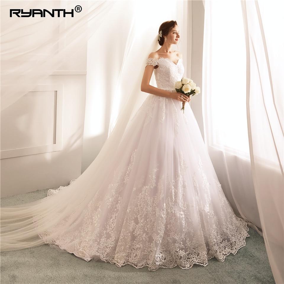 Ryanth Robe De Mariage bola Vestido De boda De lujo vestidos 2018 De encaje tapa De apliques De manga Vestido De novia Novias