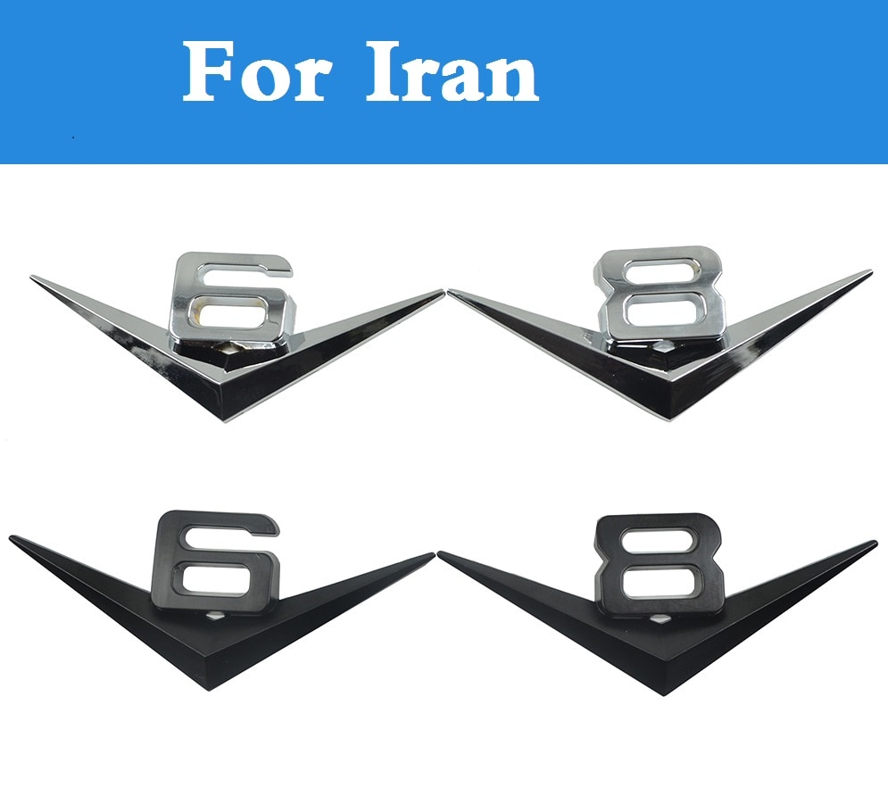 car styling V6 V8 3D Car Styling Sticker Emblem Badge rear Trunk Decals For Iran Khodro Paykan Khodro Samand Khodro Soren