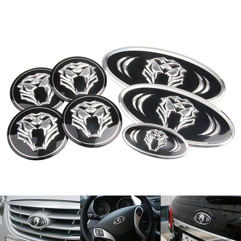 7Pcs Car tiger Logo Front&Rear Emblem Badge Sticker Front Rear Trunk Steering Wheel Emblem Badge For Kia K7 K5 K3 K2 car styling