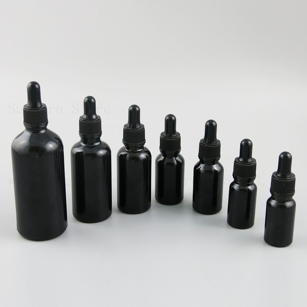 500 قطعة لامعة قطارة زجاجة سوداء إعادة الملء زجاجة ل الأساسية زيت التدليك الحاويات السفر المحمولة 10 15 20 30 50 100 مللي