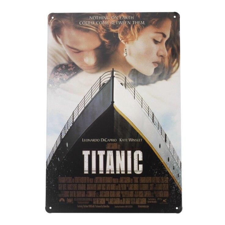 1 pc Titanic Leonardo DiCaprio Kate Winslet carteles de hojalata pared habitación Decoración Para cuarto de hombre bar arte póster vintage retro de metal