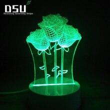 3D ilusión 7 colores gradiente Control remoto romántico Rosa noche luces perfecta Idea para novia o esposa Festival regalo lámpara