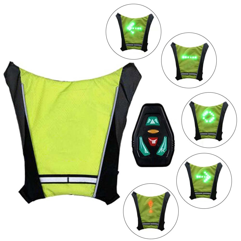 Chaleco de ciclismo inalámbrico LED, bolsa de seguridad para bicicleta MTB, chaleco de luz LED de intermitente, chalecos de advertencia reflectantes para bicicleta con Control remoto