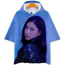 Itzy yuna ryujin chaeryeong lia yeji manga curta com capuz camiseta unisex casal amor pai-criança cosplay reino corações 3