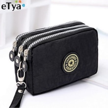 ETya ใหม่ผู้หญิงแฟชั่นแบบพกพากระเป๋าสตางค์ Make - up Bag กระเป๋าสตางค์มินิกระเป๋า 3 ซิปกระเป๋าสตางค์ผ...