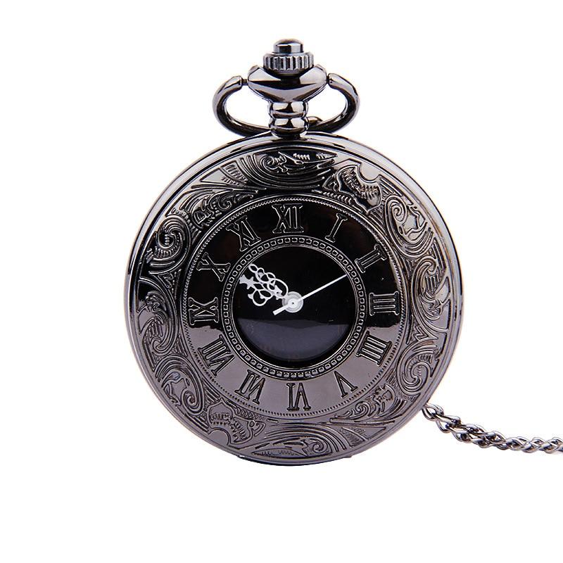 8000 стильных черных двойных дисплеев, римские весы, ретро черные лица, белые иглы, ностальгические карманные часы с ожерельем, четыре цвета