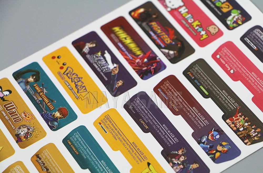 Etiqueta adhesiva con diseño de cliente para Nintendo Gameboy Advance, etiqueta adhesiva para consola GBA, etiqueta trasera 140 unids/lote = 5 conjuntos