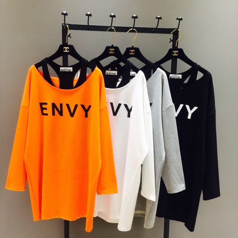 2019 New Spring Korean Loose Women T-shirt Medium-long Long Sleeve Tops O-neck Hoodies Female Basic Tshirt + Modal Vests