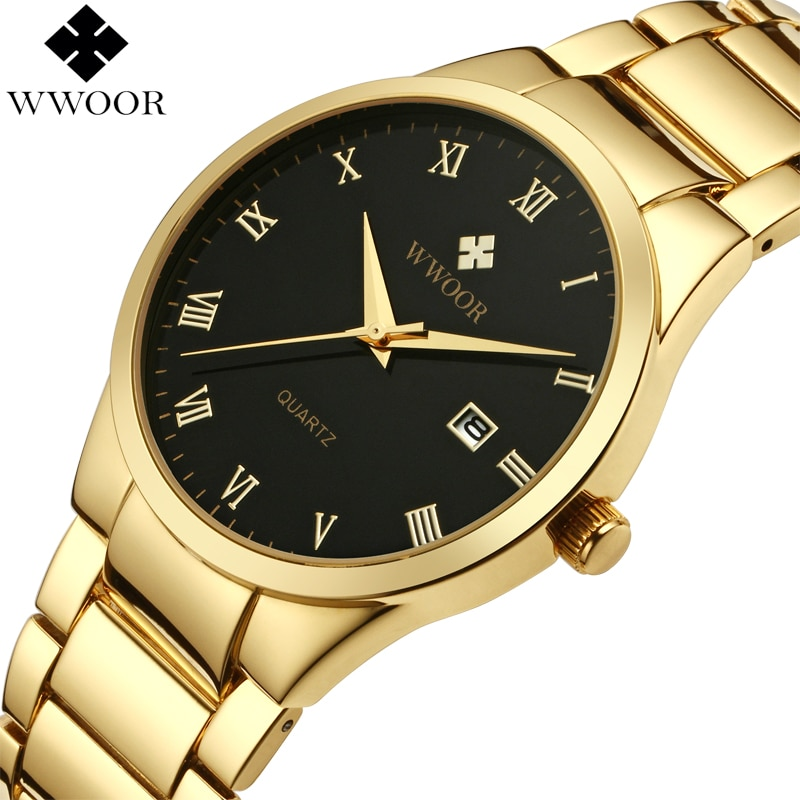 WWOOR Brand Luxury Gold Men Watches Waterproof Stainless Steel Sport Men Quartz Wrist Watch Business Man Clock Relogio Masculino