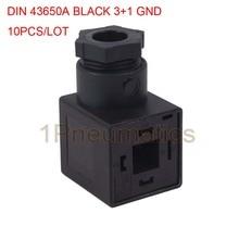 Envío gratis 10 unids/lote 18mm enchufe pie DIN43650A bobina conector enchufe w junta y tornillo 3 + 1GND