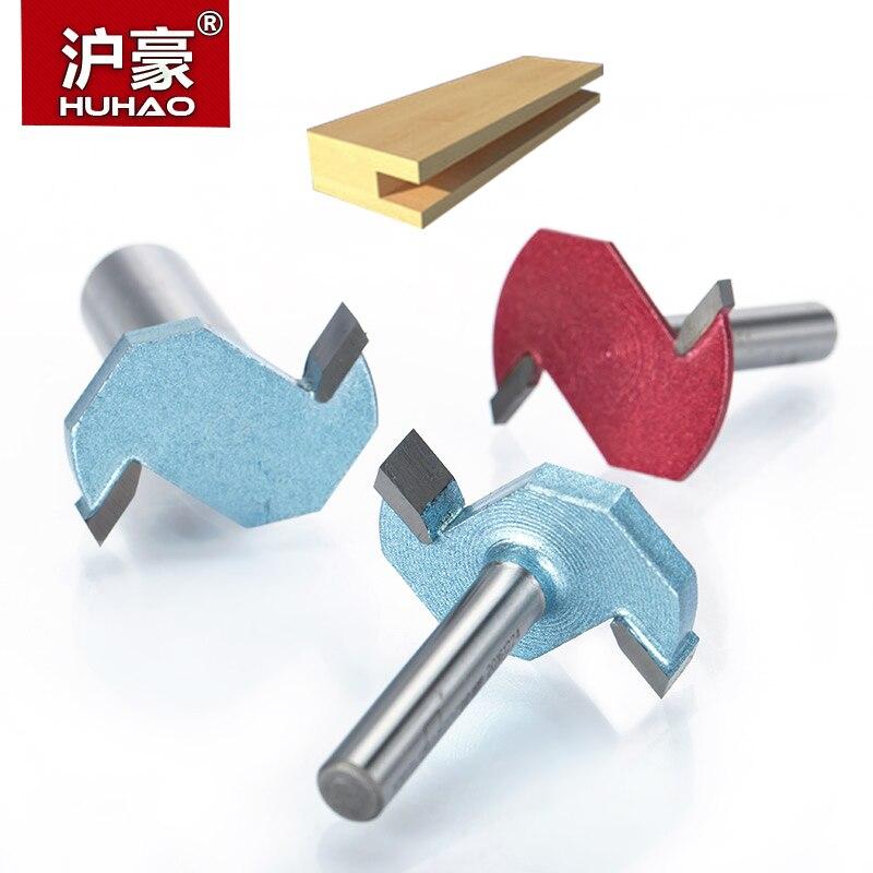 """HUHAO 1 Uds 1/2 """"vástago T tipo ranurado cortador Industrial grado 2 flauta router bits para madera herramienta de carpintería fresadora"""