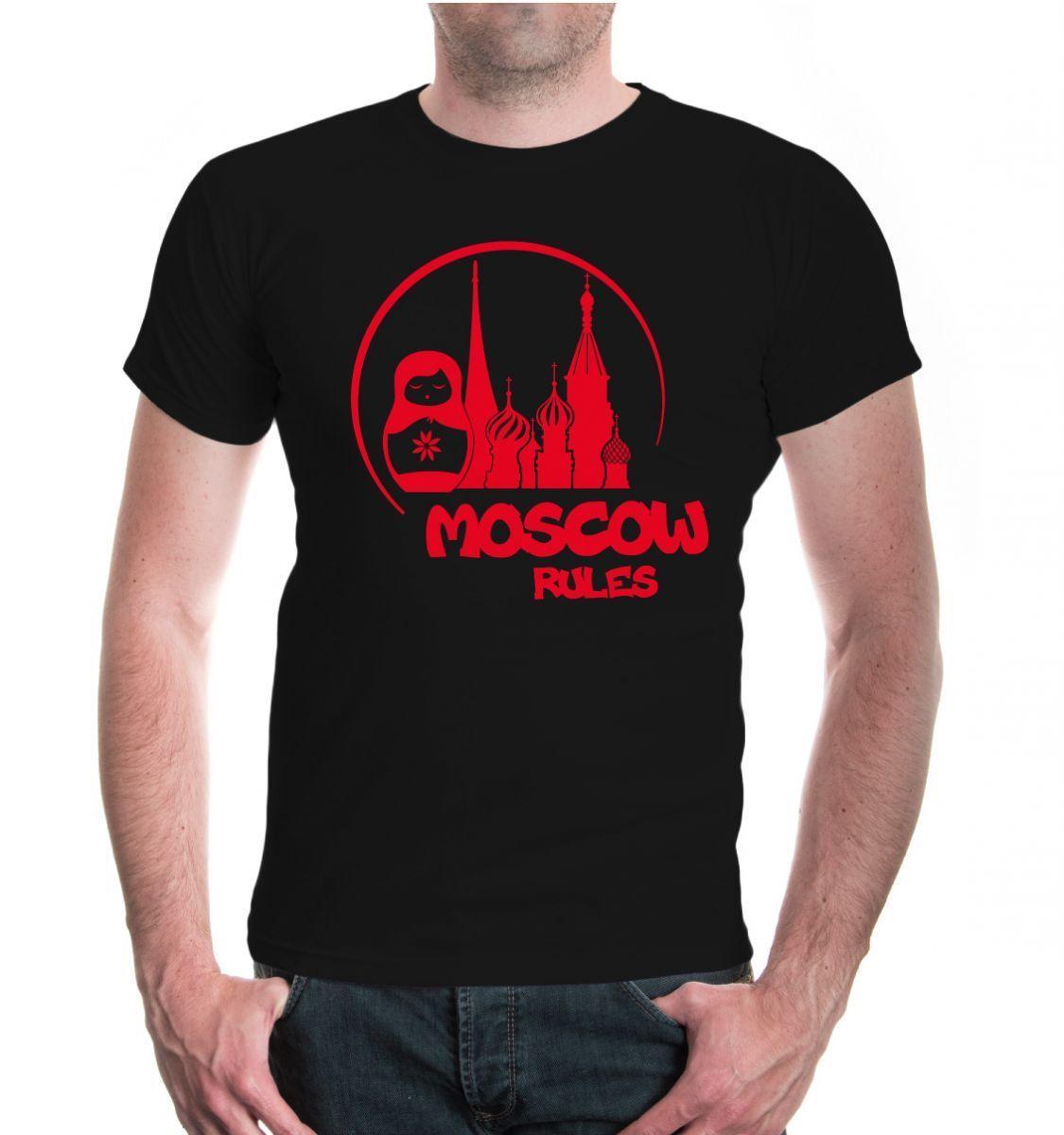 Herren унисекс Kurzarm футболка с Москвой правила силуэт Moskau Russland City Stadt|Мужские