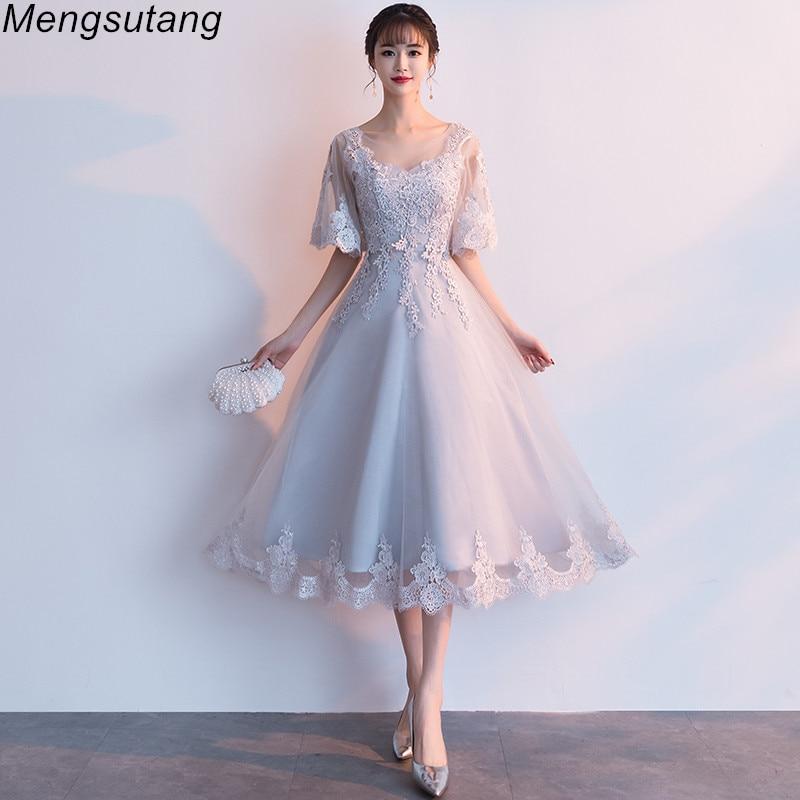 فستان سهرة نسائي بتصميم حورية البحر ، فستان سهرة فاخر ، ياقة دائرية ، نصف كم ، مطرز ، برباط ، طول الشاي ، مجموعة جديدة