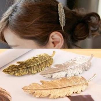 Hot 2017 nouvelle mode Vintage or rétro métal plume grandes poignées pince à cheveux pour femmes accessoires bijoux Pinza De Pelo Tiara