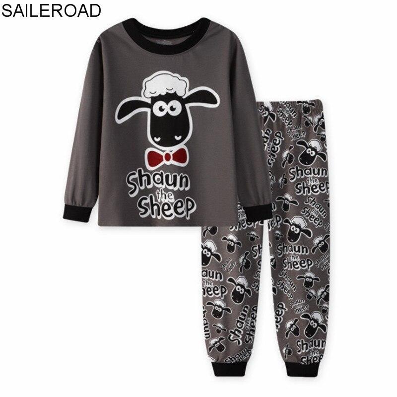 SAILEROAD, pijamas para niños, pijamas de ovejas de dibujos animados, Conjunto de Pijama Infantil para niños, ropa de dormir de algodón para niñas, traje de dormir de manga larga