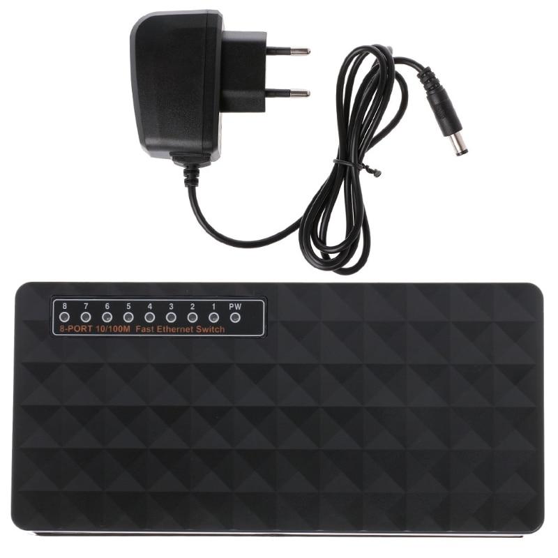 8-Port 10/100Mbps Ethernet Network Switch HUB Desktop Mini Fast LAN Switcher Adapter