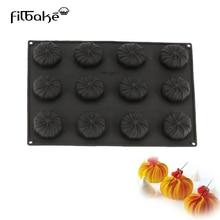 FILBAKE, moldes de silicona de 12 cavidades para pastel negro, Mousse para hornear en forma de ciclón, herramientas de decoración de postres occidentales, moldes para dulces