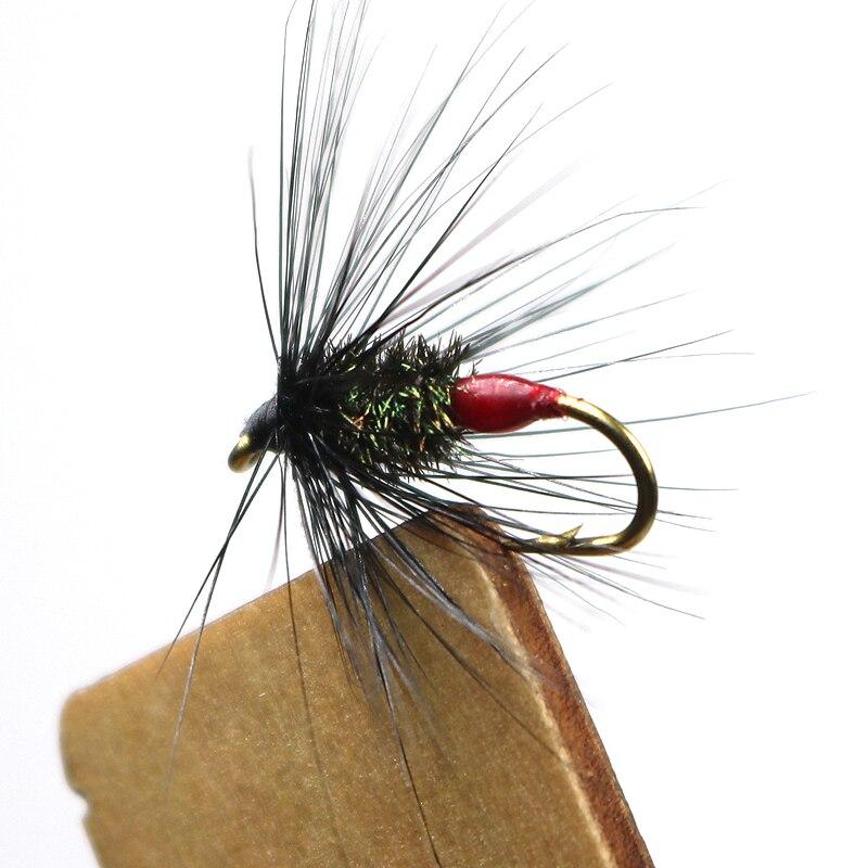 ICERIO 8 uds araña negra y pavo real con punto caliente por Mak seco atado de moscas cola roja mosca mojada #12