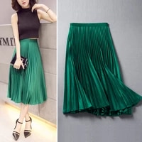 free shipping 2021 fashion women skirt pleated long mid calf spring and autumn plus size s 2xl high waist skirts with zipper