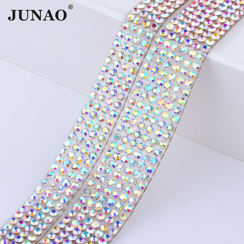 JUNAO bande de Strass en cristal 5 Yard   Hotfix AB en verre, chaîne garniture en tissu cristal, ruban en Strass diamant pour vêtements artisanat