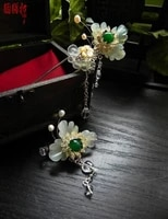 soapstone clover classical hair stick qing cui hair pin with tassel classica hair stick hair jewelry hanfu costume accessory