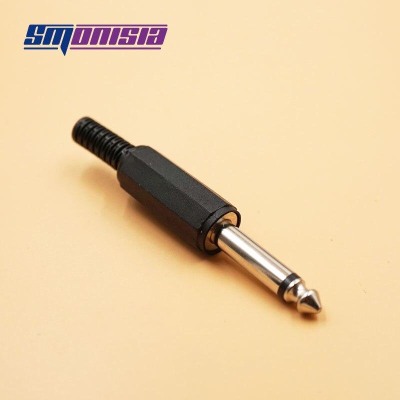 Smonisia 100 قطعة 6.35 مللي متر ميكروفون وحدة وصلات صوت الذكور Trs 1/4 بوصة أحادية جاك وصلات صوت موصل قابس مهايئ الرافعة