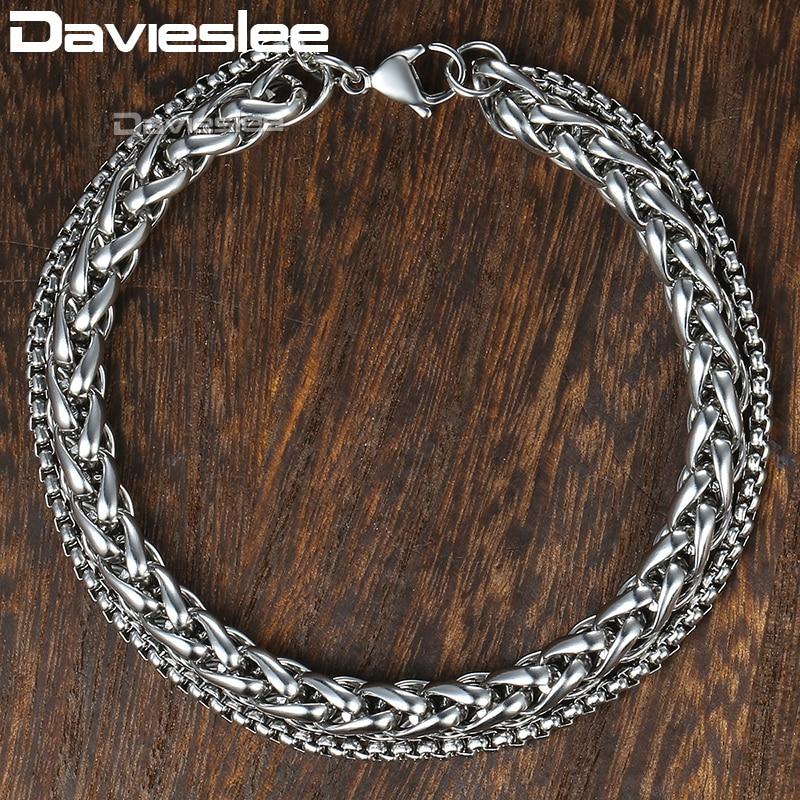 Мужской браслет с двойными цепочками Davieslee, из нержавеющей стали, с полированной пшеницей, кубинское серебро, золото 13 мм, LDBM01