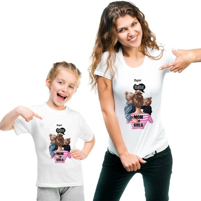 Family Matching Clothes T Shirt Women Daughter Mum T Shirt Tops Kids Baby Girl Casual T Shirt Clothe