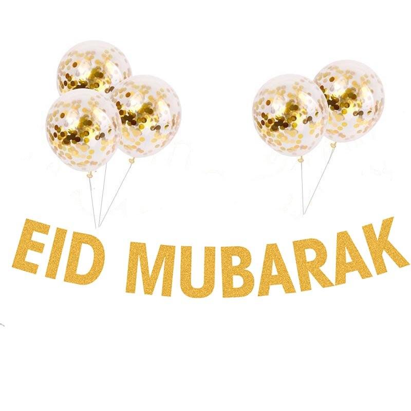 Eid Mubarak Decoration Gold Glitter Paper Banner Confetti Air Balloons  Islamic Muslim Mubarak Decoration Ramadan Supplies