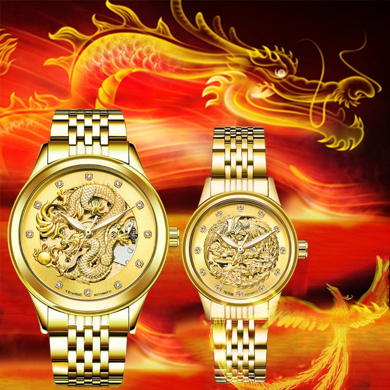 Hot Sell Tevise Brand Couple Watch Men Women Automatic Mechanical Watches Gold-Plated Luxury Clock R